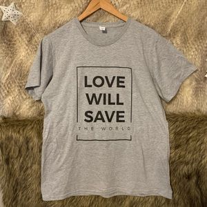 Love Will Save The World Grey Short Sleeve T-Shirt